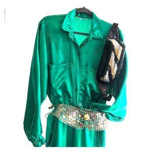 Vintage 70-80's pantsuit w/ stud belt & fanny bag